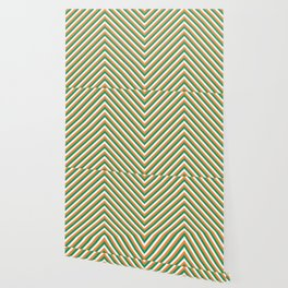 Orange White and Green Irish Chevron Stripe Wallpaper