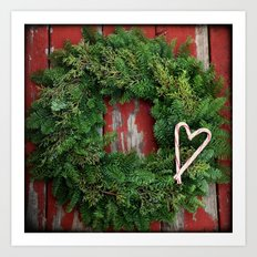 Country Christmas Wreath Art Print