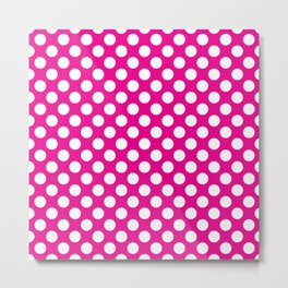 White Polka Dots with Pink Background Metal Print