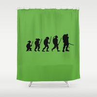 tmnt Shower Curtains featuring TMNT evolution by Aldo Cervantes Saldaña