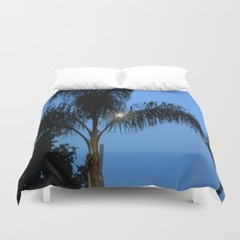 Moonlight through the Palms, Southern California Duvet Cover
