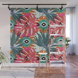 Colorful leaves and geometric shapes Wall Mural