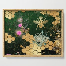 French chic, victorian,bee,floral,gold foil, belle epoque,art nouveau, green foil, elegant chic coll Serving Tray