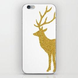 White &  Gold Glitter Deer iPhone Skin