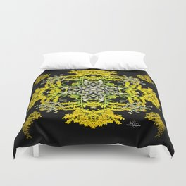Crowning Goldenrod and Silver king Kaleidoscope Scanography Duvet Cover