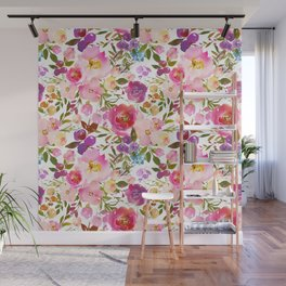 Modern pink teal green hand painted leaves floral Wall Mural