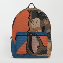 Icons of the Dog Park: German Shepherd Design in Bold Colors for Pet Lovers Art Print Backpack