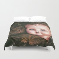 creepy Duvet Covers featuring Creepy Doll by Maria Heyens