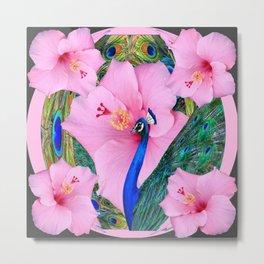 TROPICAL PINK HIBISCUS FLOWERS & BLUE-GREEN PEACOCK Metal Print