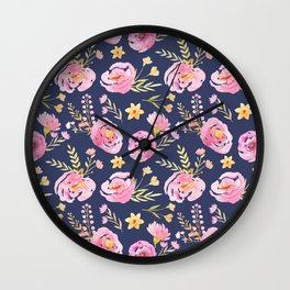 Delicate Poppy Pattern Blue Wall Clock