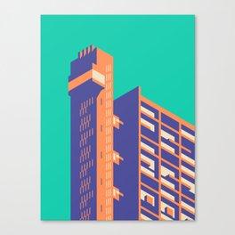 Trellick Tower London Brutalist Architecture - Plain Turquoise Canvas Print