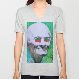 I open my eyes and all I see is darkness / VAPORWAVE Unisex V-Neck