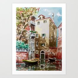 Watercolour in Venice Art Print