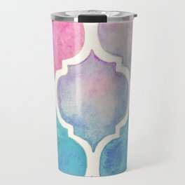 Rainbow Pastel Watercolor Moroccan Pattern Travel Mug