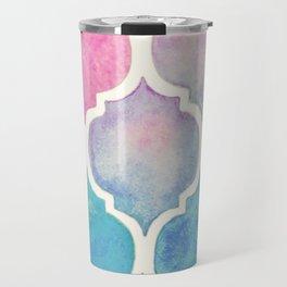 Rainbow Pastel Watercolor Moroccan Pattern Travel Mug