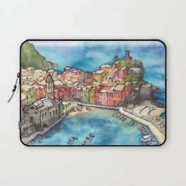 Cinque Terre ink & watercolor illustration Laptop Sleeve