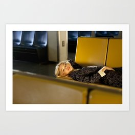 The Ferry, Lying down on yellow seats Art Print