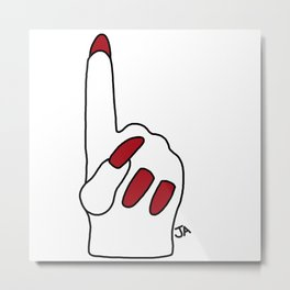 Miley Cyrus Foam Finger Metal Print