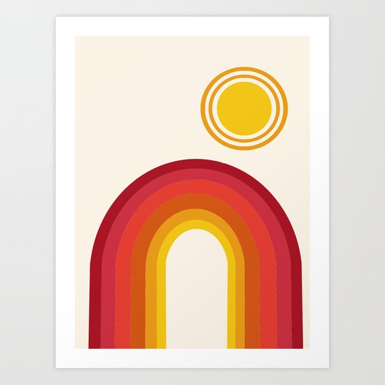 Far Out - retro throwback 70s 1970s sun planet beach 70's vibes minimal art Art Print