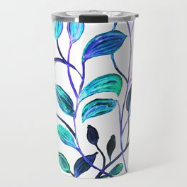 Shiny Silver Teal Leaves Travel Mug