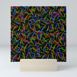 Neon abstraction of rounded multicolored triangles, smooth lines and double circles on a black backg Mini Art Print