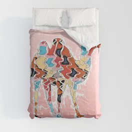 Colorful Camel Abstract Art Illustration on Pink Comforters