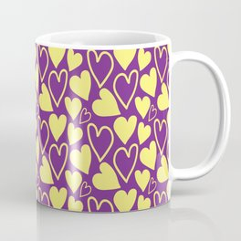 Violet and Yellow Hearts Repeated Pattern 097#001 Coffee Mug