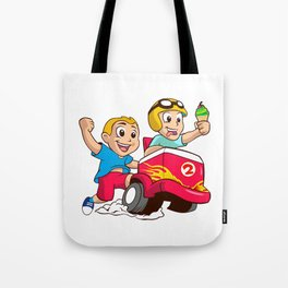 Two children and the ice cream cart Tote Bag