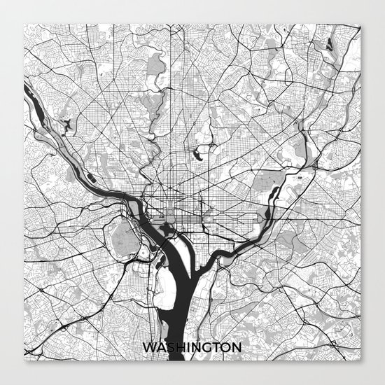 Washington Map Gray Canvas Print