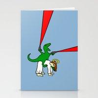 atheist Stationery Cards featuring Dinosaur Riding Jesus by Jez Kemp