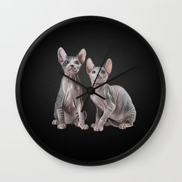 Drawing Sphynx kitten Wall Clock