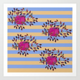 Stripe Pattern with pink pumpkins Art Print
