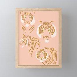 Tigers in Blush + Gold Framed Mini Art Print