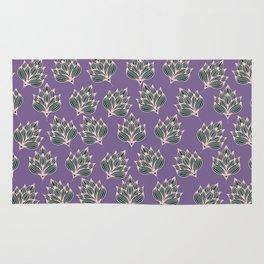 Hand painted blush pink violet modern floral Rug