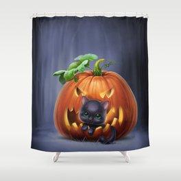 black kitten in a pumpkin Shower Curtain