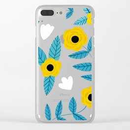 Yellow Flowers Dance Clear iPhone Case