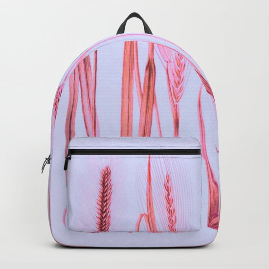 pink ears of wheat on pale blue Backpack