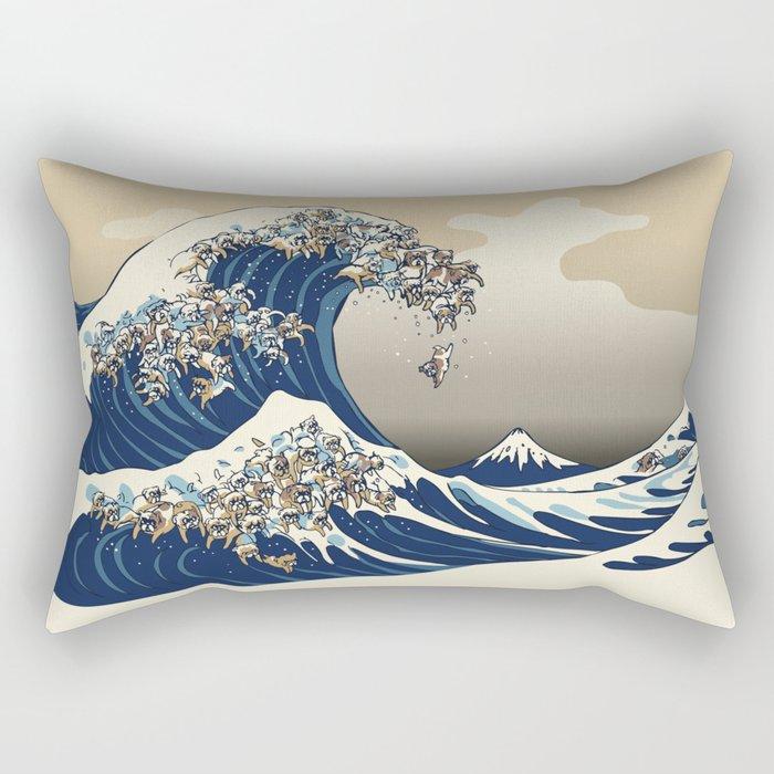 The great wave of english bulldog Vanilla Sky Rectangular Pillow