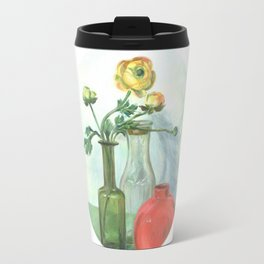 Still life with Buttercup and glass bottles Travel Mug
