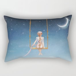 The lovely girl shakes on a swing Rectangular Pillow