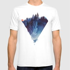 Near to the edge White LARGE Mens Fitted Tee