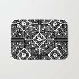 Cherokee Rose Pattern 1 black gray white Bath Mat