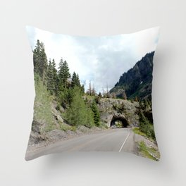 Driving the Spectacular, but Perilous Uncompahgre Gorge, No. 5 of 6 Throw Pillow