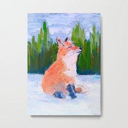 Smiling fox, oil impressionist painting Metal Print