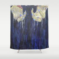 hands Shower Curtains featuring hands by hankhenry