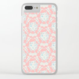 Shabby elegant coral ivory pastel blue floral damask Clear iPhone Case