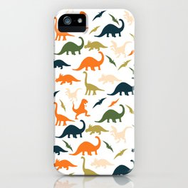 Dinos in Pastel Green and Orange iPhone Case