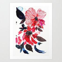 Spring flowers, watercolor, red pink Art Print