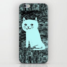 Wood grain cat iPhone Skin