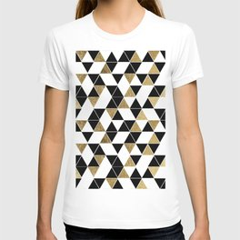 Modern Black, White, and Faux Gold Triangles T-shirt